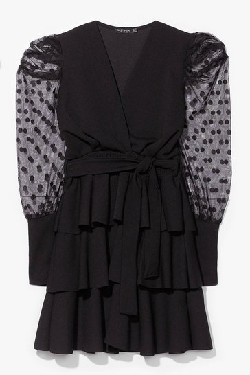 Black Can't Sleeve You Behind Ruffle Belted Mini Dress