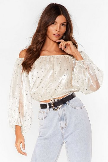 White Reachin' Organza Off-the-Shoulder Top