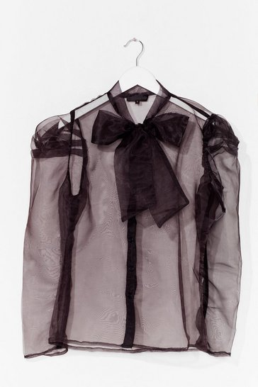 Black Bow 'Em How It's Done Organza Blouse