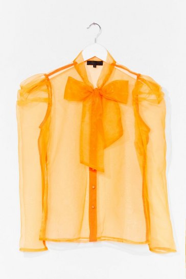 Orange Bow 'Em How It's Done Organza Blouse