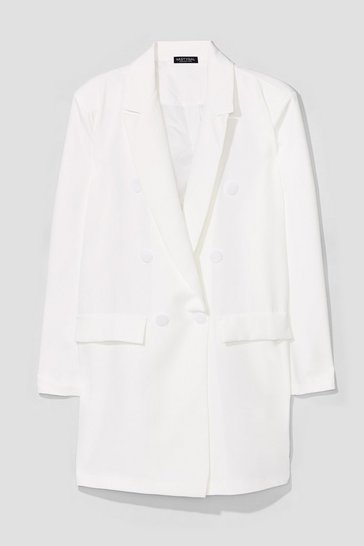 White The Bigger the Better Oversized Blazer
