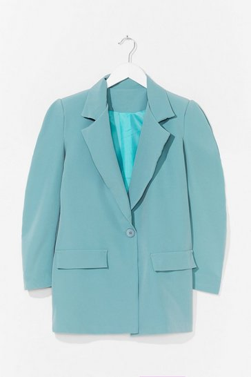 Sage We've Got Work to Do Puff Shoulder Blazer