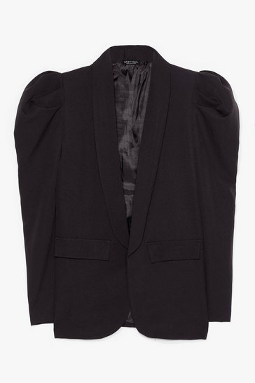 Black Deep V Neck Puff Sleeve Blazer