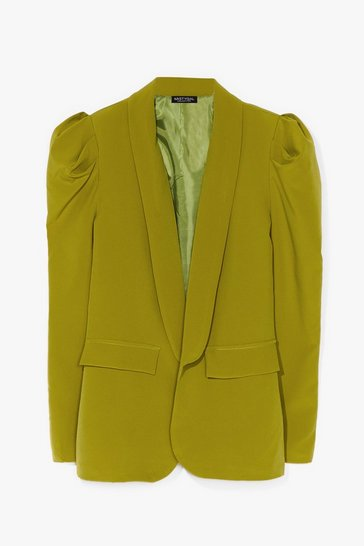 Green Nice to Meet You Puff Sleeve Blazer