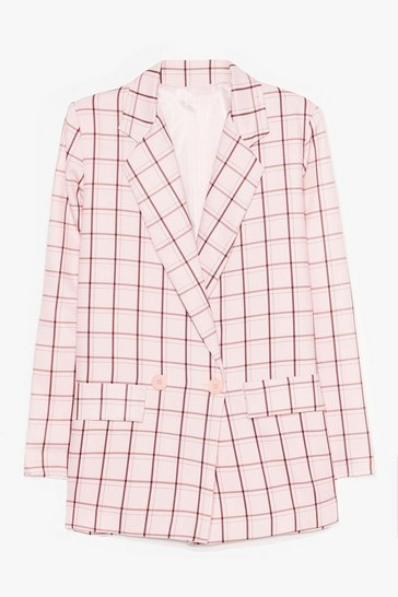 Pink Lemme Check Double Breasted Blazer