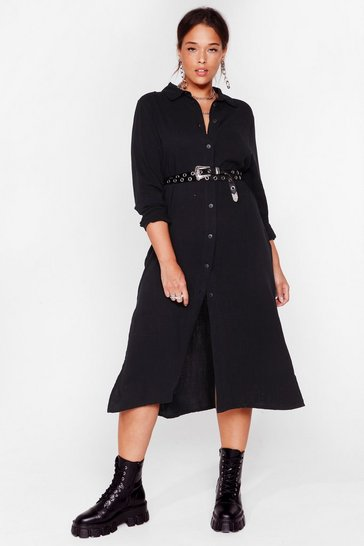 Black You're So Shirty Plus Midi Dress
