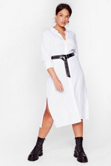 White You're So Shirty Plus Midi Dress