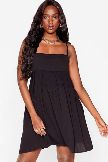 Black Plus Size Tiered Mini Cami Dress