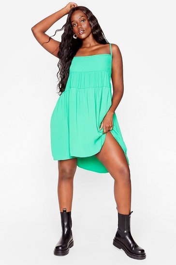Bright green Plus Size Tiered Mini Cami Dress