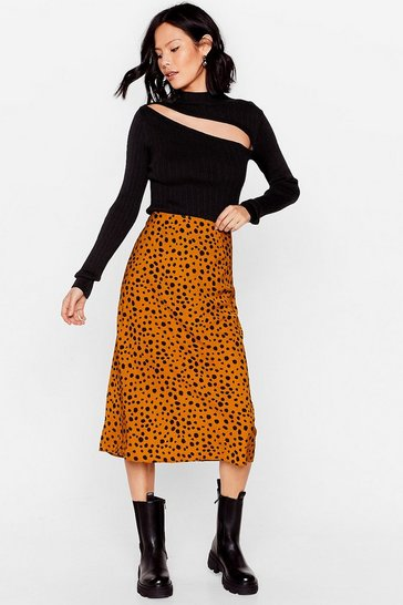 Tan Get the Upper Hound Dalmatian Midi Skirt