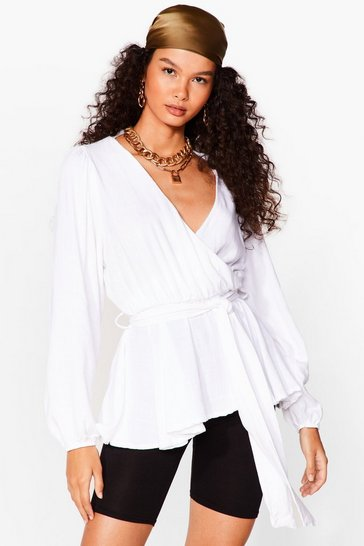 Ivory Never Belt So Good Linen Wrap Blouse