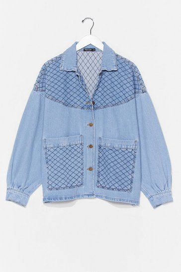 Vintage blue Can't Quilt Your Love Oversized Denim Jacket