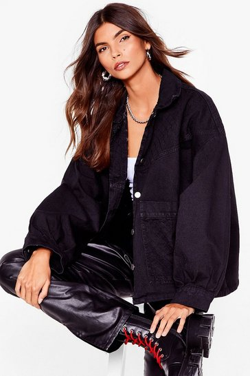 Washed black Balloon Sleeve Oversized Denim Jacket
