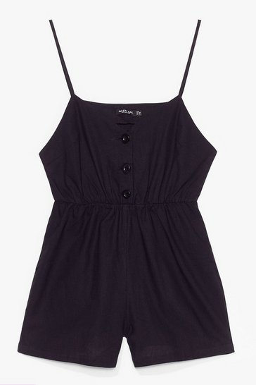 Black Close the Lead Button Front Relaxed Romper
