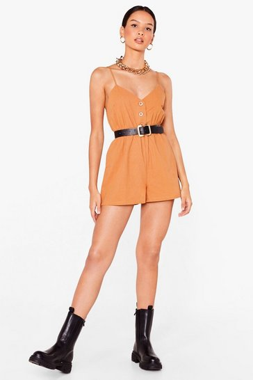 Camel Close the Lead Button Front Relaxed Romper