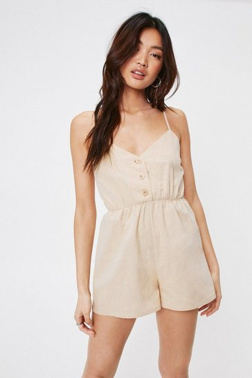 Stone Button Down Relaxed Strappy Romper