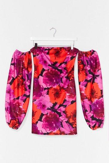 Pink Power Flower Puff Sleeve Off-the-Shoulder Dress