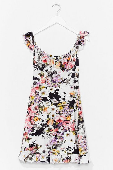 White Bouquet Cool Floral Mini Dress