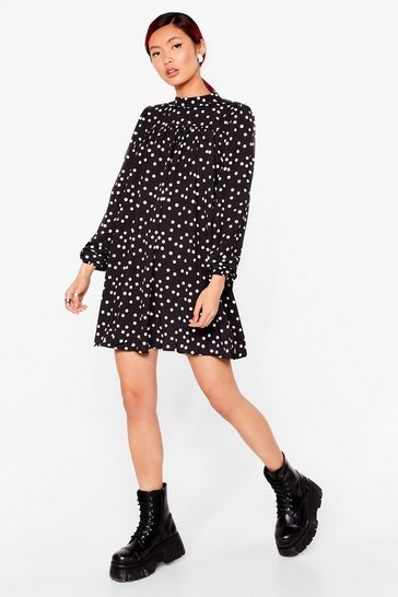Black Polka Dot Mini Swing Dress