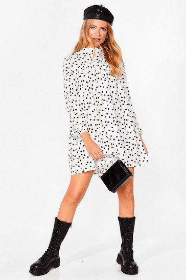 White Swing By Polka Dot Mini Dress