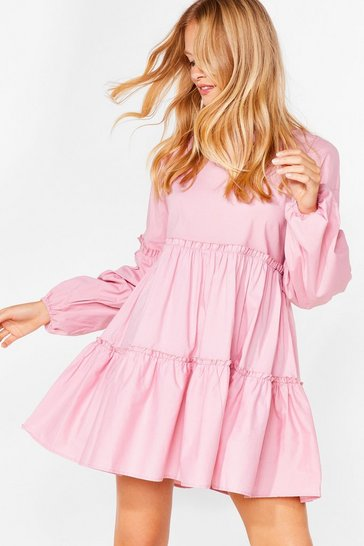Baby pink Cotton Long Sleeve Tiered Mini Dress