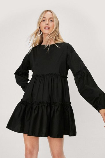 Black Cotton Long Sleeve Tiered Mini Dress