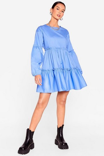 Blue Cotton Long Sleeve Tiered Mini Dress