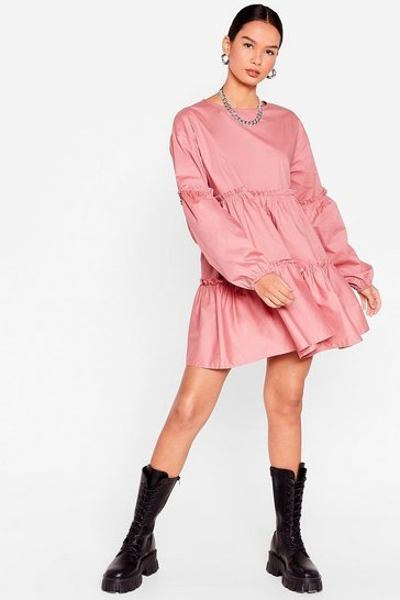 Dusty rose Cotton Long Sleeve Tiered Mini Dress