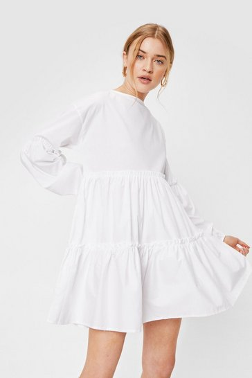 White Cotton Long Sleeve Tiered Mini Dress