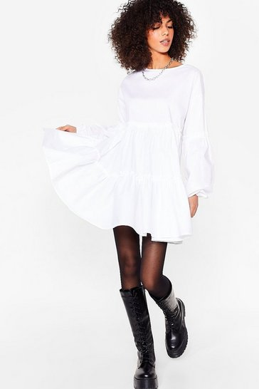White Ease Off Relaxed Mini Dress