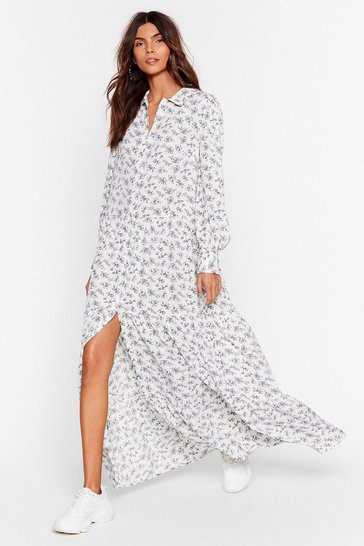 Cream Getting to Grow You Floral Maxi Dress