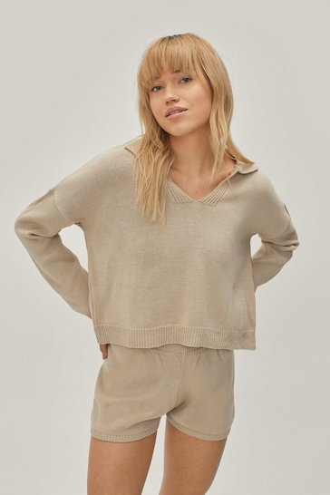 Oatmeal V How It's Done Sweater and Shorts Lounge Set