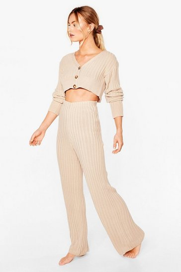 Oatmeal Let It V Ribbed Knit Cardigan and Trousers Lounge Set