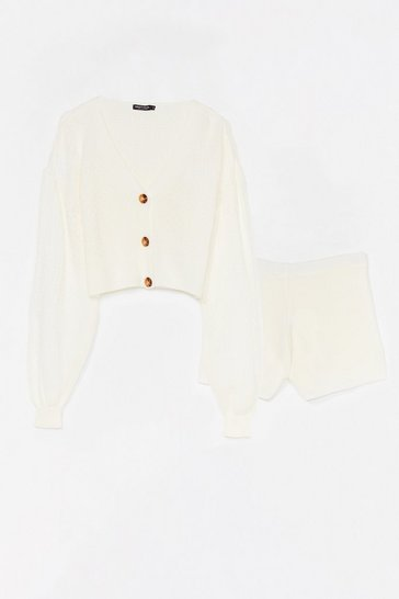 Cream Stitch Interest Button Cardigan + Short Lounge Set