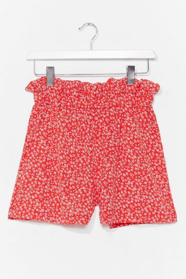 Red Take a Stalk Foral Paperbag Shorts