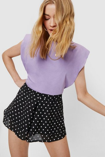 Black Polka Dot Tiered Relaxed Shorts