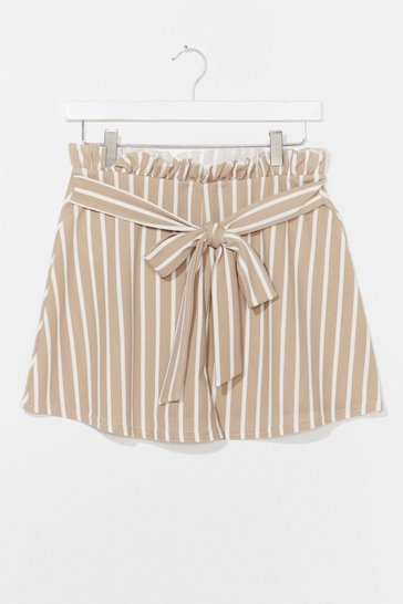 Stone Summer Nights Stripe Belted Shorts
