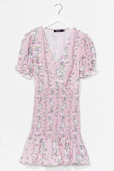 Pink It's Always a Bud Time Floral Mini Dress