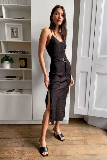 Black Jacquard Satin Belted Midi Dress