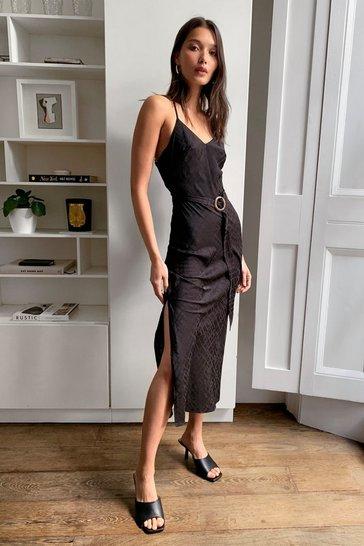 Black Jacquard Satin Belted Midi Dress