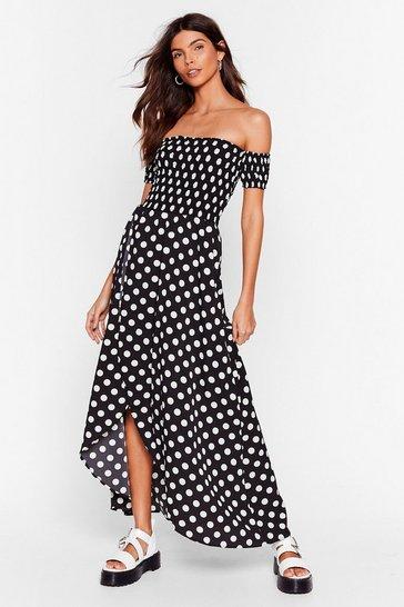 Black Dot Sure Off-the-Shoulder Maxi Dress