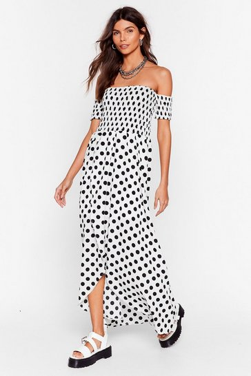 White Dot Sure Off-the-Shoulder Maxi Dress