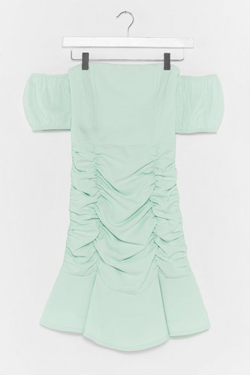 Sage Ruched Puff Sleeve Off The Shoulder Mini Dress