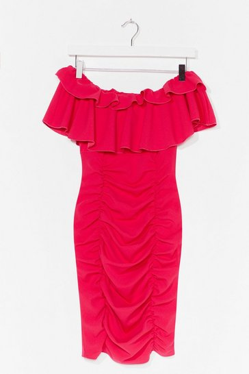 Hot pink Are You Frill Down Off-the-Shoulder Mini Dress