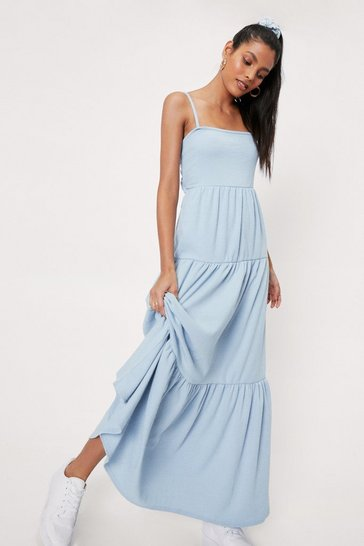 Blue Spaghetti Strap Cut Out Maxi Dress