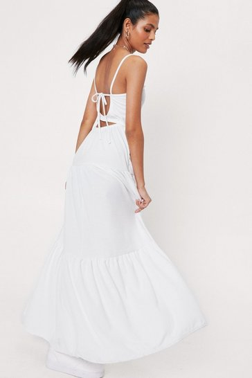 White Spaghetti Strap Cut Out Maxi Dress