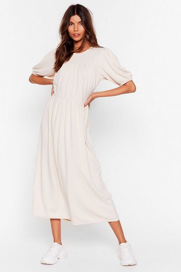 Ecru Got Your Back Puff Sleeve Midi Dress