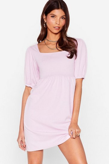 Lilac Textured Puff Sleeve Smock Dress