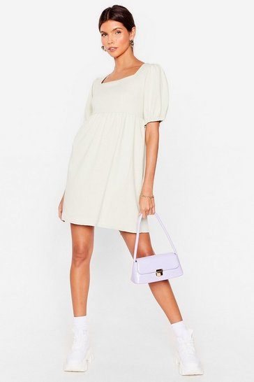 Sage Textured Puff Sleeve Smock Dress