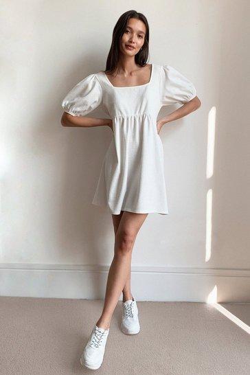 White Square My Love Puff Sleeve Mini Dress